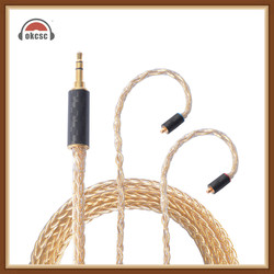 Okcsc Helios -Au 56 Cores Earphone Upgrade Cable Mmcx Jack Pure Silver Gold Plated 3 .5mm Plug For Se535 /Westone W80 Yinman