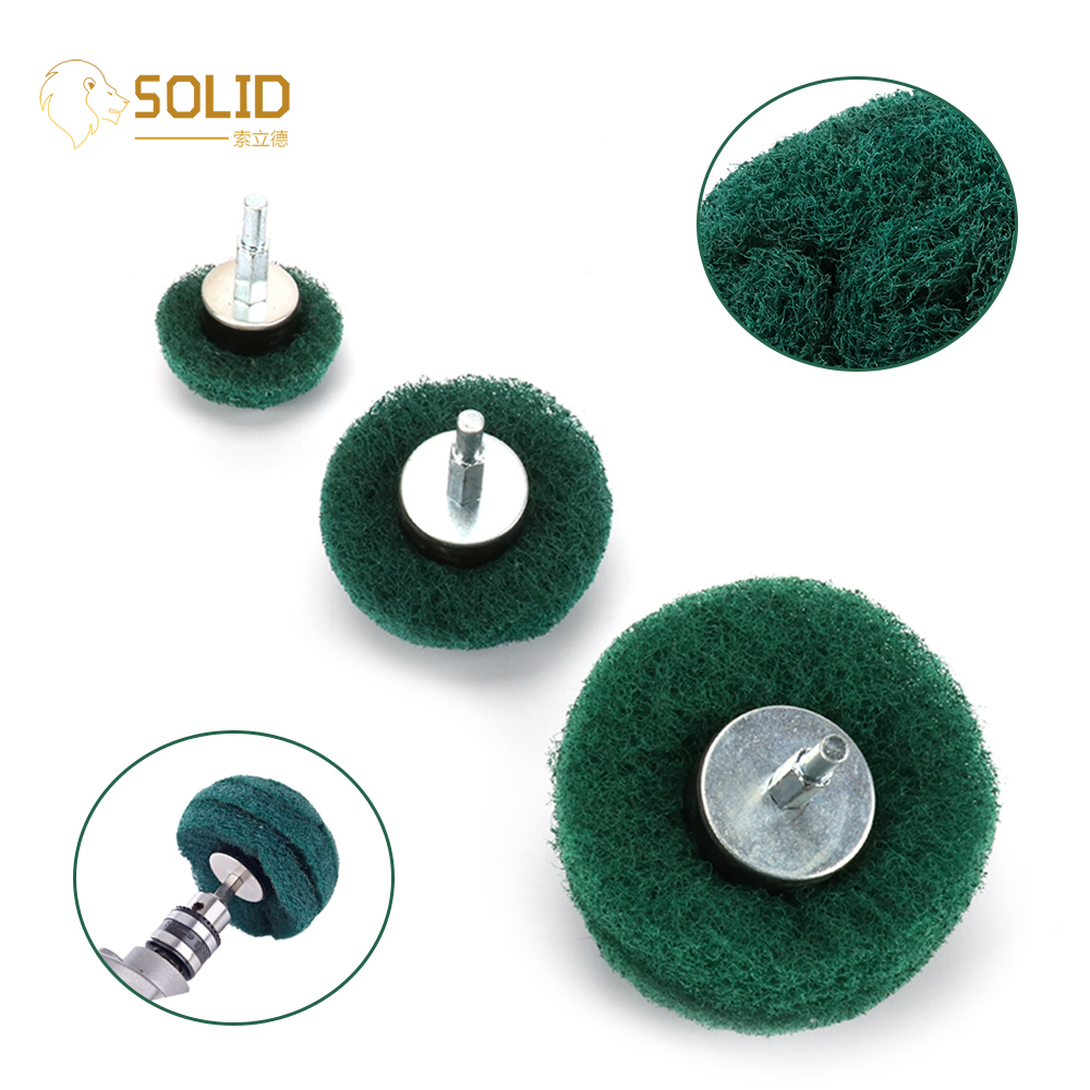 Scouring Pad Grinding Polishing Head Mounted Dome Sanding Mop Nylon Fiber Buffing Wheel For Work Deburring 2/3/4inch 180# 320#