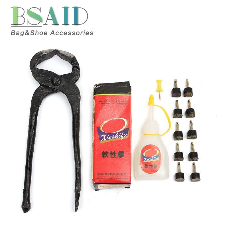 Bsaid 1 세트 하이힐 수리 철 도구 슈퍼 접착제 접착제 5 쌍의 하이힐 손톱 수리 스틸레토 신발 관리 키트 도구