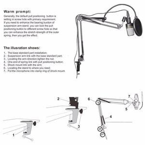 Image 4 - NB 35 Держатель для микрофона с подвеской на руку и зажим для крепления на стол для поп фильтра Комплект для защиты от ветрового стекла CCDD