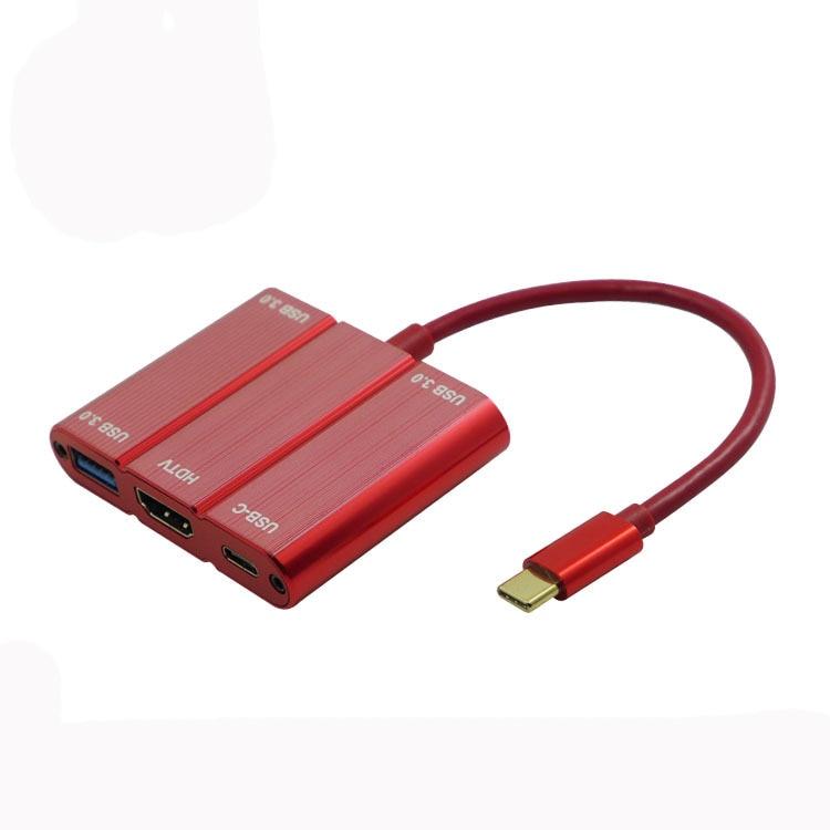 2 pcs/lot moyeu d'extension USB type-c avec adaptateur de convertisseur de Port 4 K HDMI et Type C et USB Type A rouge