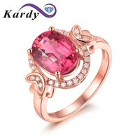 Attractive Fashion Jewelry 14K Rose Gold Natural Diamond Natural Pink Tourmaline Gemstone Engagement Ring for Women