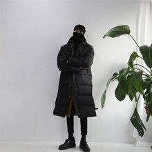 2018 зимние мужские повседневные свободные зимние куртки утолщенная длинная хлопковая стеганая одежда пальто с капюшоном Тренч в теплом ботфорте парки M-XL
