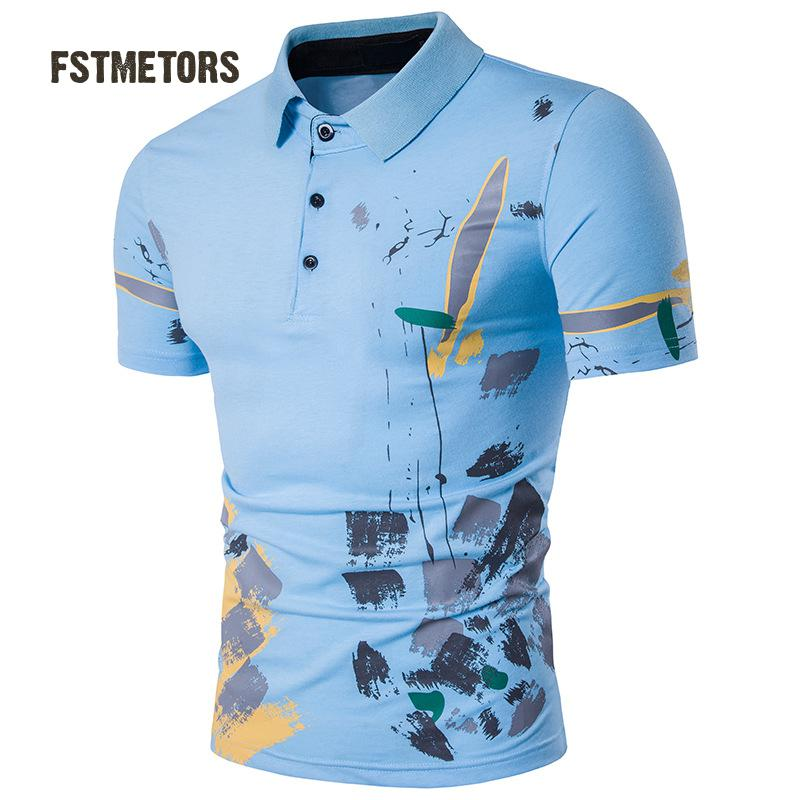 2018 FSTMETORS fashion leisure men's   polo   shirt printing lapel cultivate one's morality short sleeve   polo   shirt man personality