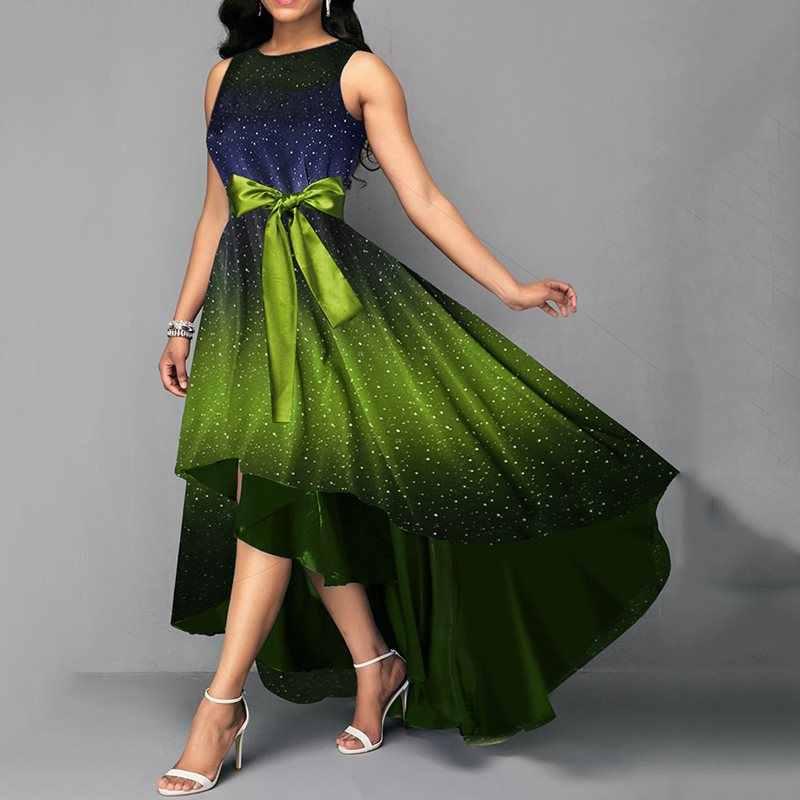 Элегантные вечерние платья больших размеров, большие размеры, S-4XL, Ретро стиль, летнее женское платье с бантом и синим принтом, асимметричное длинное винтажное платье