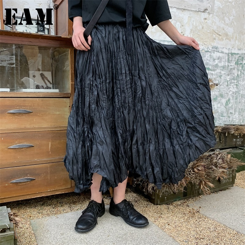EAM 2019 New Spring Summer High Elastic Waist Black Brief Pleated Fold Personality Half body