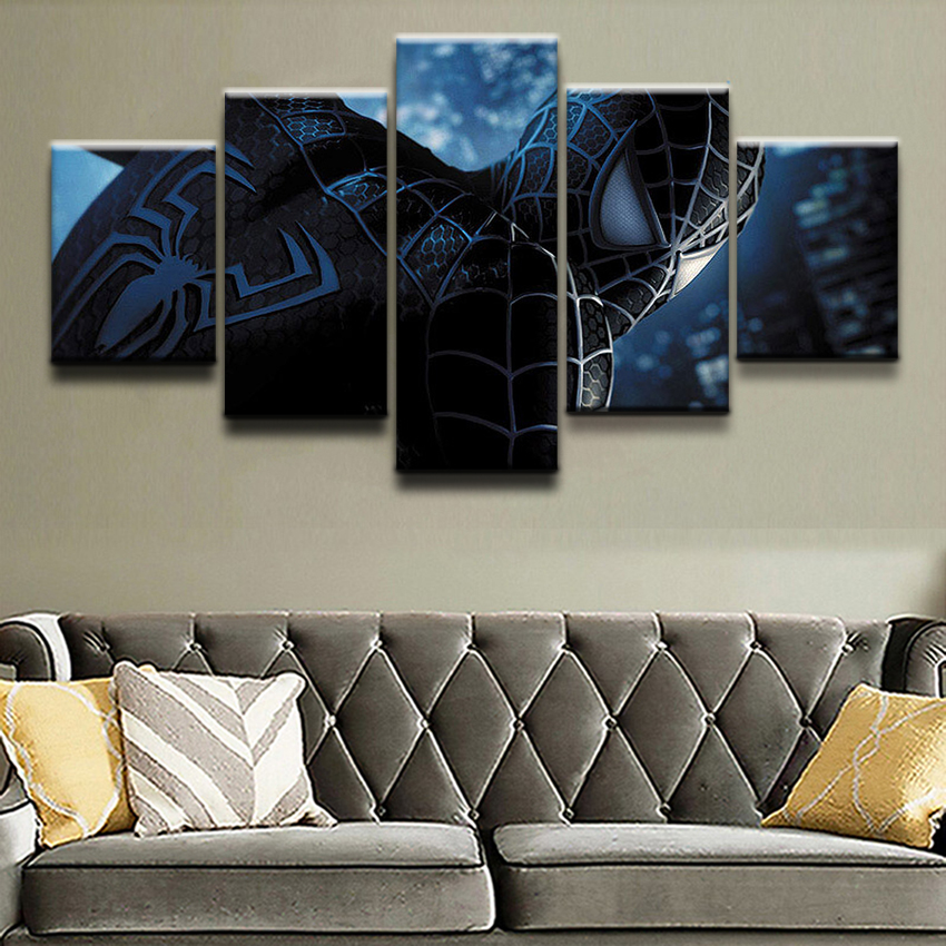5 Piece Canvas Print Comics Spider Man Poster Canvas Painting Picture Home Decor For Boys Room Wall Art Wall Decor Frame Picture in Painting Calligraphy from Home Garden