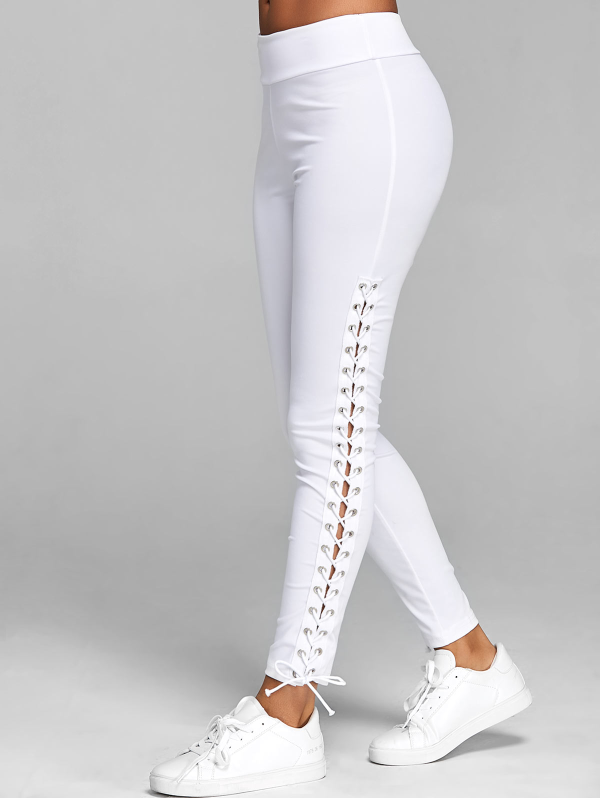 Wipalo Lace Up Grommet Leggings 2019 Skinny Leggings Women Pencil Pants Trouser Black White Leggings Streetwear 5XL Cargo Pant