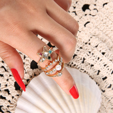 Fashion Rhinestone Gold Ring Setting for Pearl Simple Pentagram Zinc Alloy Knuckle Rings for Women Party Jewelry gorgeous faux pearl design women s openwork alloy knuckle ring
