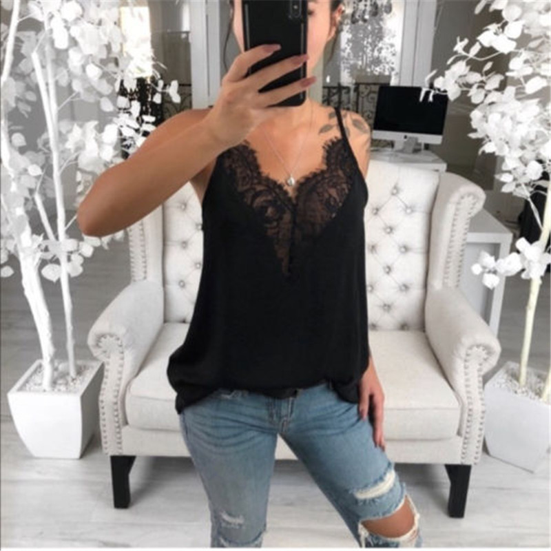2019 Summer Women Long   Blouse   Casual Loose Lace V Neck Ladies   Shirts   Tops   Blouse   Sleeveless Tops Female   Blouses   Plus Size