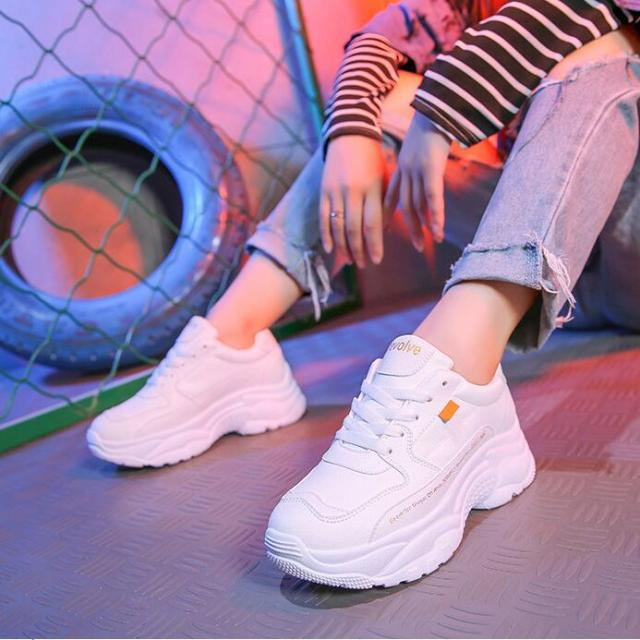 217fc117830f Aliexpress.com   Buy White Shoes Women Designer Korean Fashion Thick  Platform Chunky Sneakers High 5cm Split Leather Light Breathable Tenis  Feminino from ...