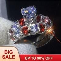 Винтаж кольцо в форме сердца 925 пробы серебро AAAAA Cz камень Обручение обручальное кольца набор для женщин свадебные комплекты ювелирных изде