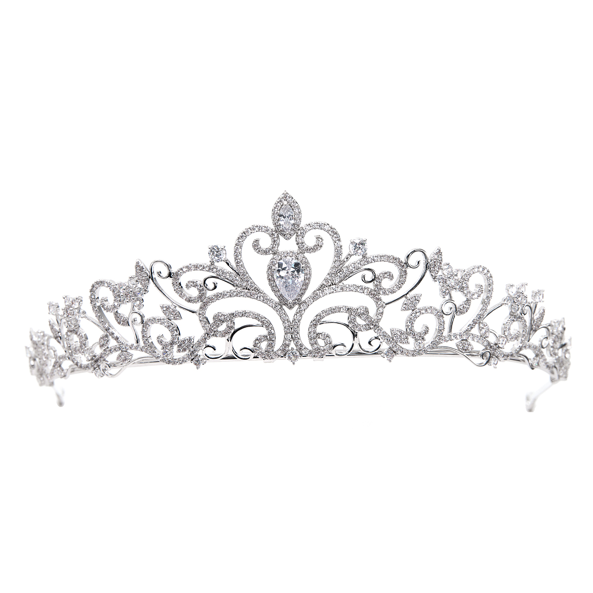 Gorgeous Wedding tiara Full AAA CZ Cubic Zirconia Crowns Pageant Hair Accessories Jewelry Birthday Party Headpiece