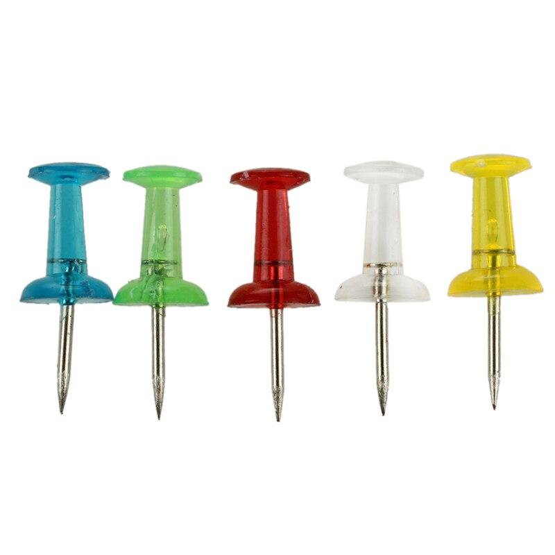 50 Pcs Home 5 Colors Plastic Top Stationery Map Push Pins Tacks