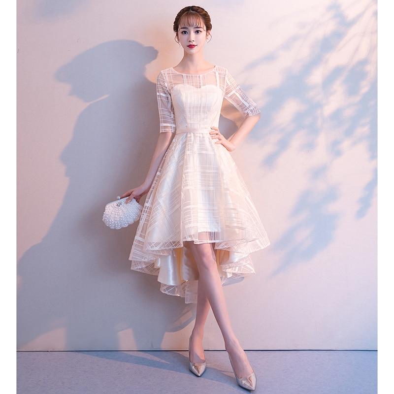 Femmes robe de soirée formelle d'été bal demi manches fête robe de mariée haute basse femme dîner robes
