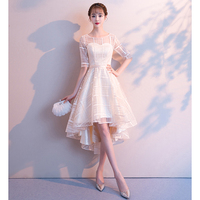 Women Formal Party Dress Summer Prom Half Sleeve Party Wedding Gown High Low Female Dinner Dresses