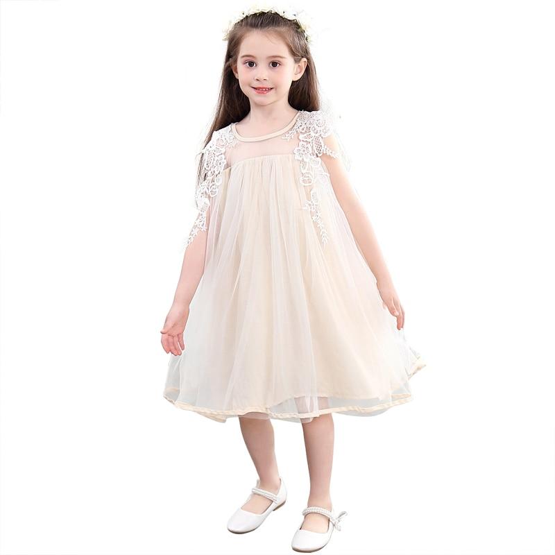 Бежевые кружевные платья с цветочным узором для девочек от 3 до 12 лет, свободные платья для маленьких девочек, фатиновое платье для выпускно...