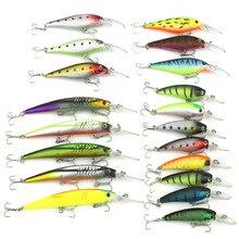 19pcs/set Mixed 3 style Fishing Lures Set Minnow Crankbait Wobblers Artificial Bait Fishing Tackle