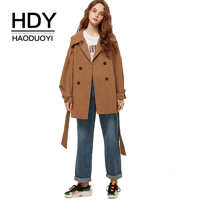 HDY haoduoyi 2019 Spring New Woman Classic Double Breasted Belt Simple Trench Coat Waterproof