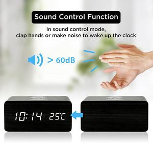 Image 3 - Wooden Alarm Clock With Qi Wireless Charging Pad Compatible With For Iphone Samsung Wood Led Digital Clock Sound Control Funct