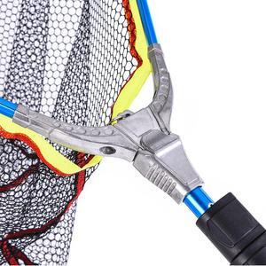 Image 5 - 200mm Blue Folding Fishing Landing Net Fish Net Cast Carp Rubber Coated Net Network With Extending Telescoping Pole Handle