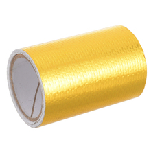 Durable 1Roll 5cm x 80cm Fiberglass Adhesive Reflective Gold High Temperature Heat Shield Wrap Tape Waterproof
