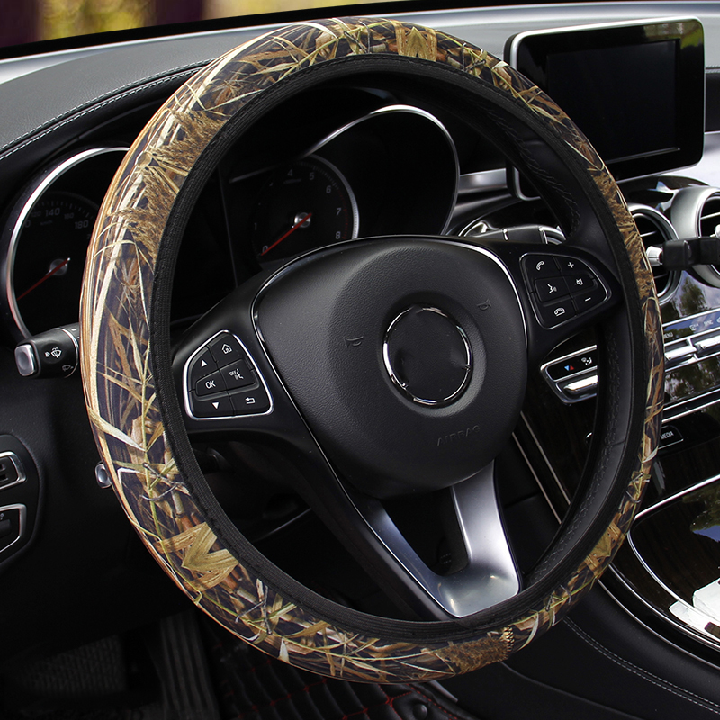 Image 3 - Camouflage Car Steering wheel Cover Fit For Most Cars Car Styling SBR Lycra Steering Cover Auto Interior Accessories Anti slip-in Steering Covers from Automobiles & Motorcycles
