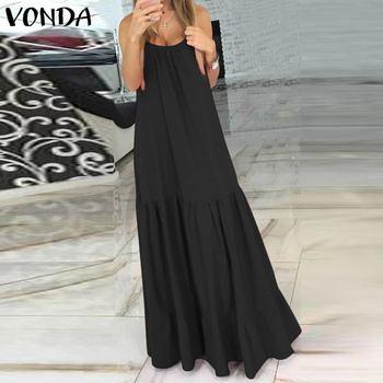 VONDA Bohemian Dress Women 2019 Summer Sexy Sleeveless Spaghetti Strap Ruffle Swings Maxi Long Dresses Holiday Vestido Plus Size 2