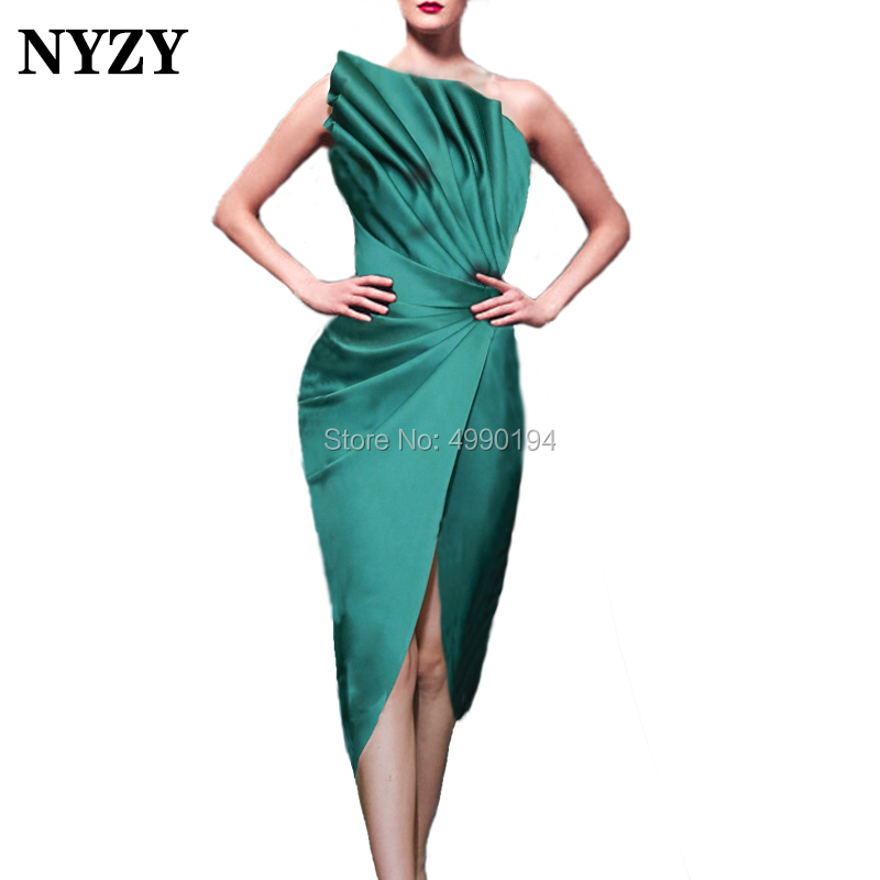 NYZY C102 New Arrival Robe Cocktail Dress Emerald Green Satin High Slit One Shoulder Evening Dress Short Vestido Coctel 2019
