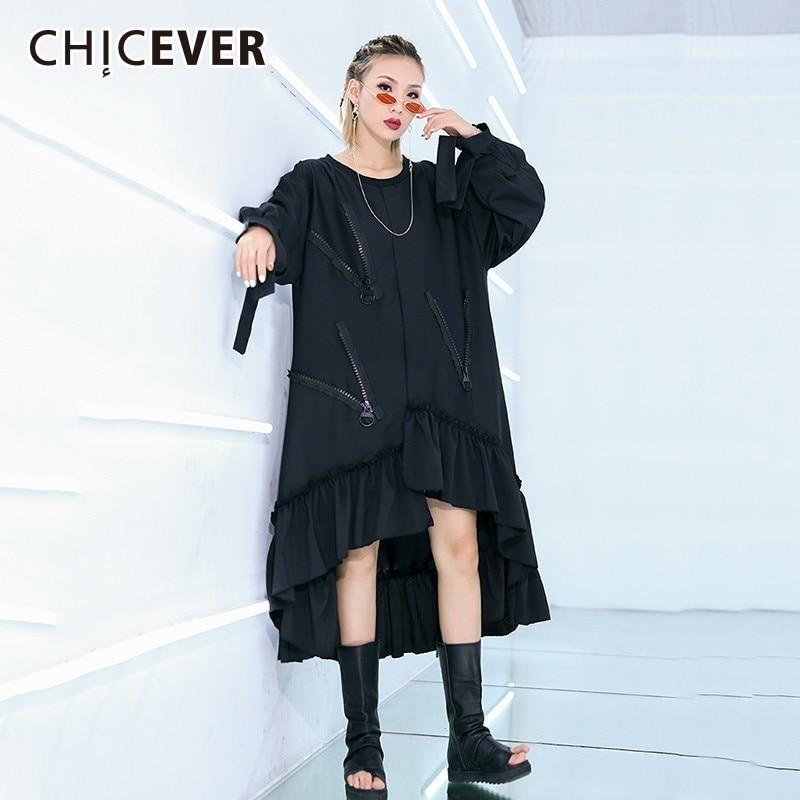 CHICEVER Spring Irregular Pacthwork Zipper Dress For Women O Neck Puff Sleeve Ruffles Hem Mid calf
