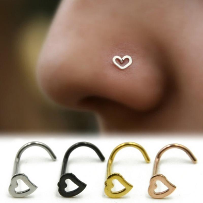 Ring-Earring Jewelry Studs Open-Hoop Body-Piercing Nose Stainless-Steel Gold Silver Women
