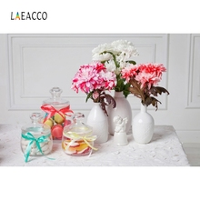 Laeacco Glass Vase Flower Backdrop Baby Girls Portrait Photography Background Customized Photographic Backdrops For Photo Studio цена