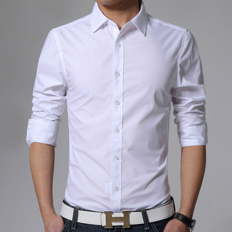 New 2019 Men's Pure Cotton Shirt Slim Fit Fashion Long Sleeve Casual Business Shirts Men Dress Shirts High Quality Camisas