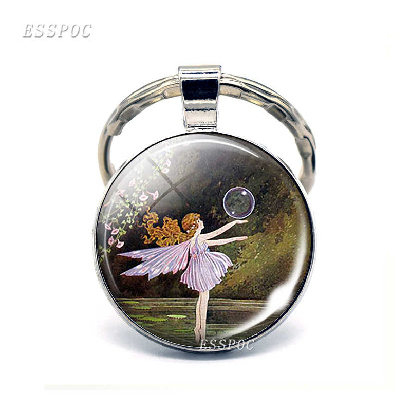 Fairy Photo Key Chain Angel Pendant Key Ring Glass Cabochon Jewelry Fairy Keychain Elf Keyring For Women Best Gifts