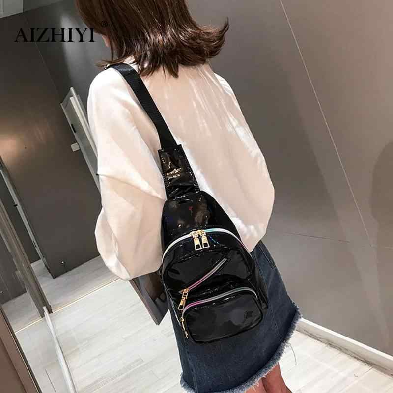 25cdcf357c94 New fashionLaser Bright Leather Handbags Waist Phone Packs Unisex Chest  Bags Multi-pocket large capacity shoulder messenger bags