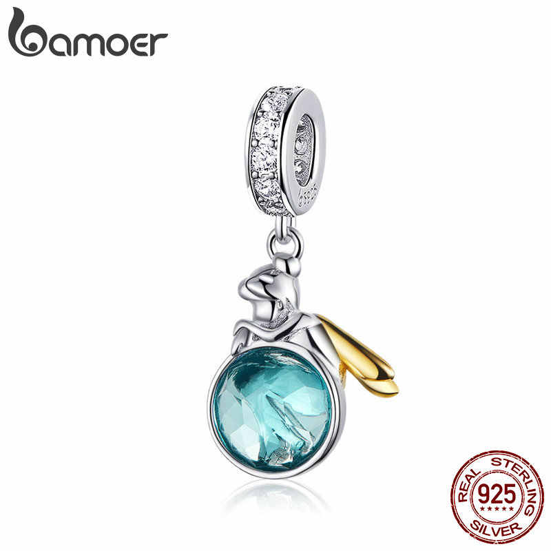 BAMOER Authentic 925 Sterling Silver Elf Planet Blue Zircon Pendant Charms fit Original Bracelets Necklaces Jewelry Gift BSC057