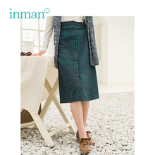INMAN Winter New Arrival Retro Literary Wool Plaid A-skirt Woman Skirt