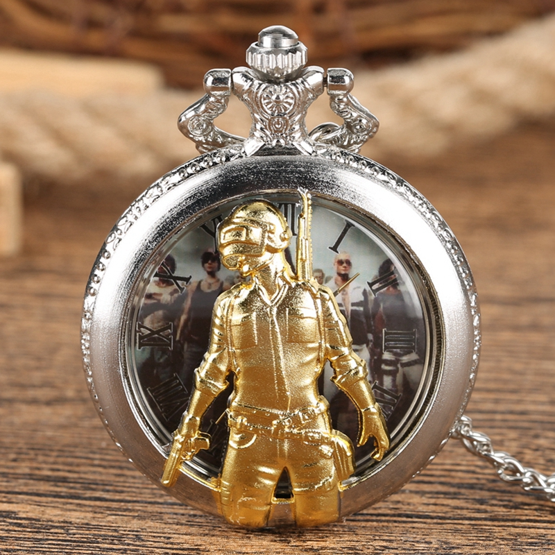 PLAYERUNKNOWN BATTLEGROUNDS Game PUBG Theme Quartz Pocket Watch Pendant Necklace Chain Souvenir Collectibles Gift For Men Women
