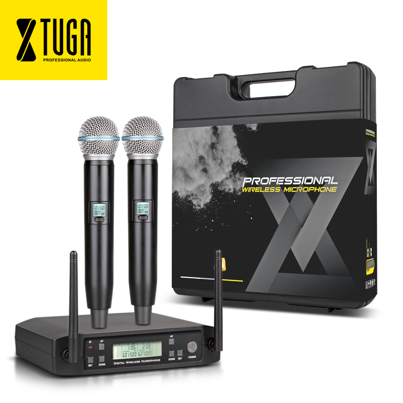 xtuga portable wireless microphone system with 2 handhled mic carry box cordless for stage. Black Bedroom Furniture Sets. Home Design Ideas