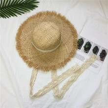 Women Summer Beach Raffia Black White Ribbon Hat Bow Raffia Hat Temperament Flat Straw Hats Women's Sea Beach Hat stylish bow band white match black hipsters straw hat for women
