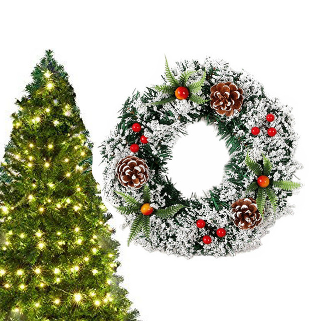 Artificial Pine Art Wreath Christmas Decor Garland with Pine cone snowflake Cherry Christmas tree Decorations for Home 30cm/40cm