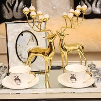 High End Home Decor Candle Holder Spotted Deer Stainless Steel Candlestick Candelabra Candle Holders for Wedding Home Ornaments