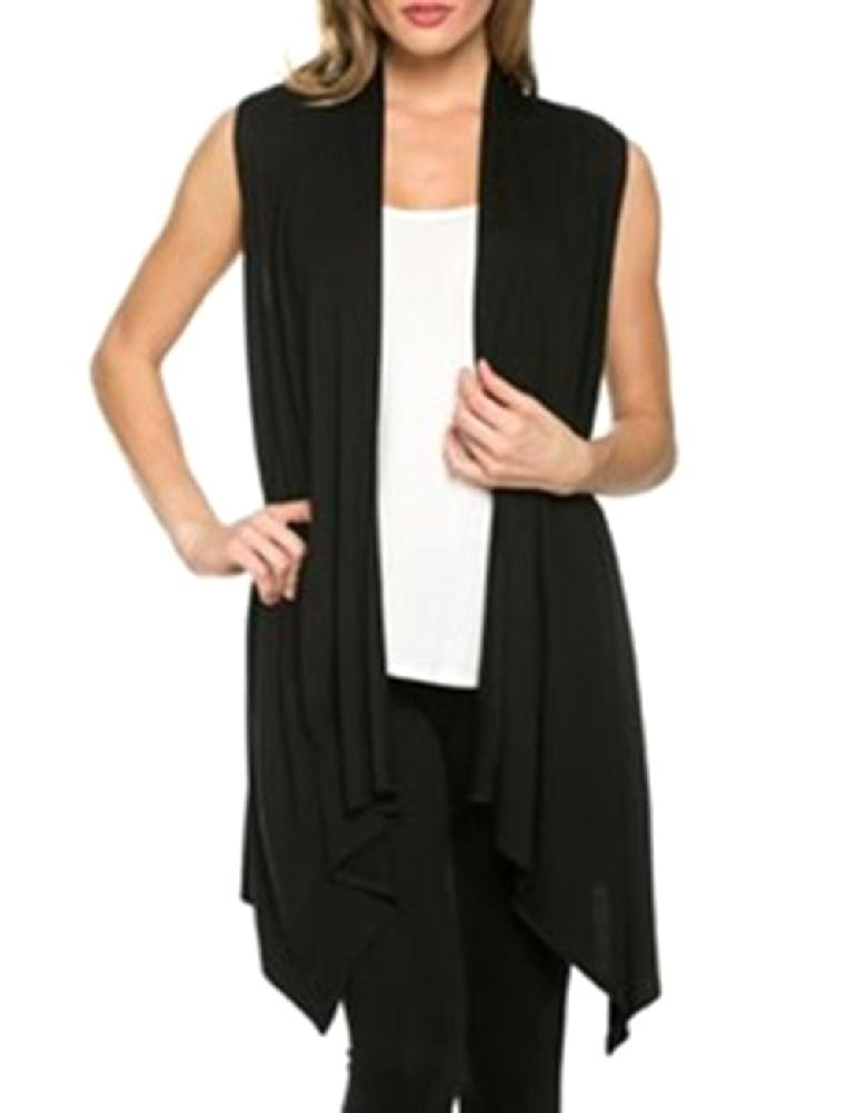 MISSKY 2019 Summer Women Simple Casual Solid Color Cardigan Sleeveless Tops Female Clothes