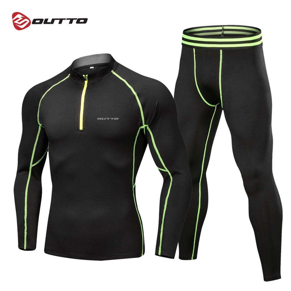 Outto homme Polaire Doublé sous-vêtement thermique Set Moto Ski Vélo Base Couche Hiver Chaud Long Chemises et hauts Combinaison Bas