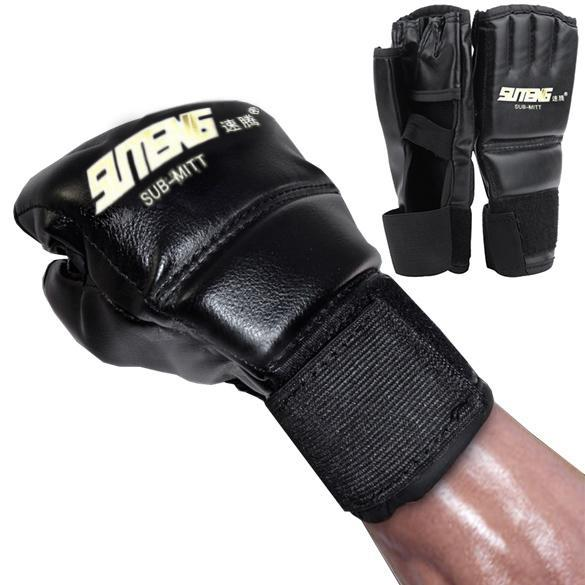 1Pair PU Leather Gloves Half Mitts Mitten MMA Muay Thai Training Punching Sparring Boxing Glove Cool style punching gloves new