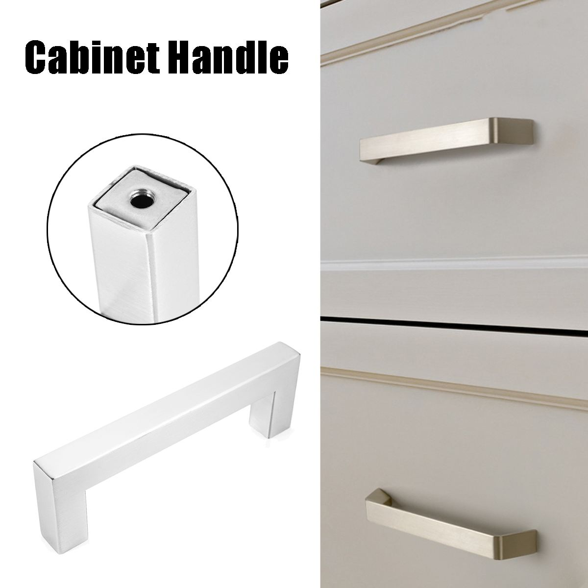 Kitchen Cabinet Handles Square Knobs Stainless Steel Drawer Cupboard Pulls Lot