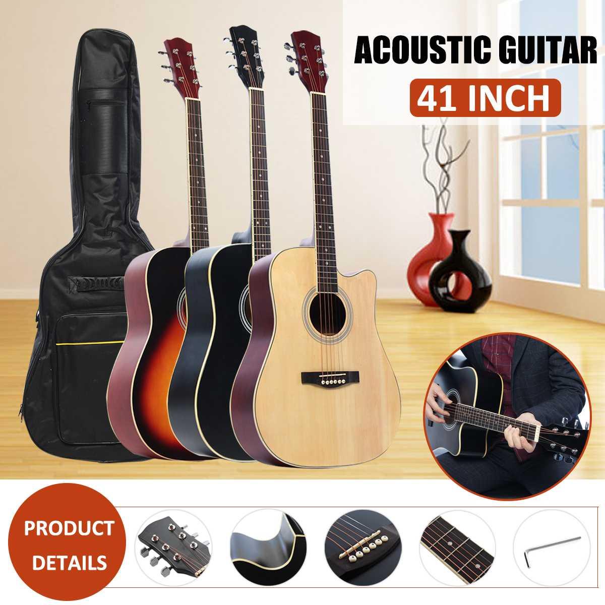 41 pouces guitare acoustique en bois ballade classique Basswood Face unique guitare Folk simple planche guitare acoustique avec accessoire