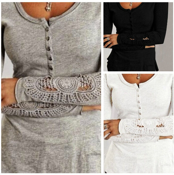 Womens Lace Hollowed Out Round Neck Long Sleeve Tshirt Lace Sleeve Lady Ladies Embroidery Splice Bottoming Tee Tops