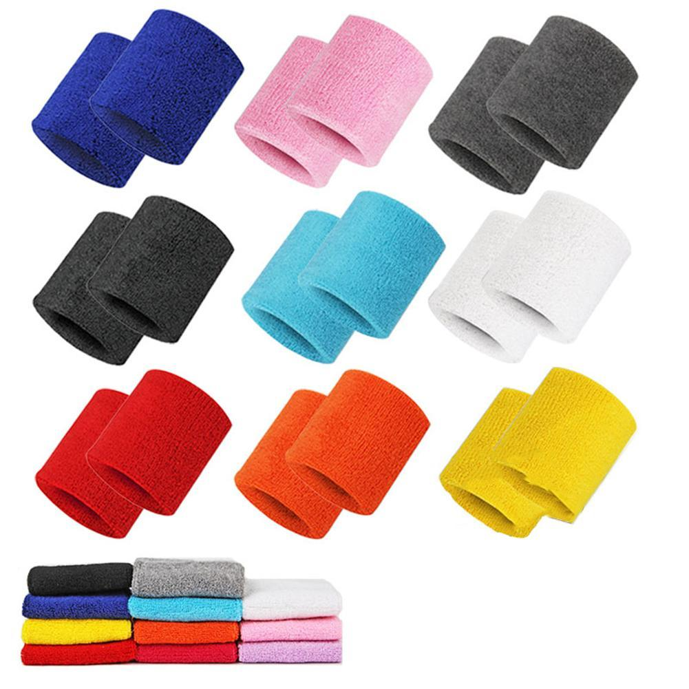 2pcs Towel Material Bracers Sport Sweat Breathable Comfortable Black Red Blue Or Pink