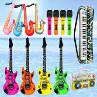14cps Schlauchboote Musik Gitarre Saxophon Mikrofon Musik Instrumente Luftballons Spielzeug Dekorative Zubehör für Schwimmbad